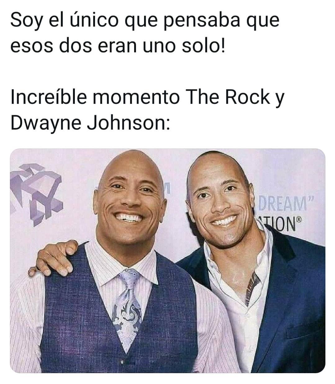 Soy el único que pensaba que esos dos eran uno solo! Increíble momento The Rock y Dwayne Johnson: