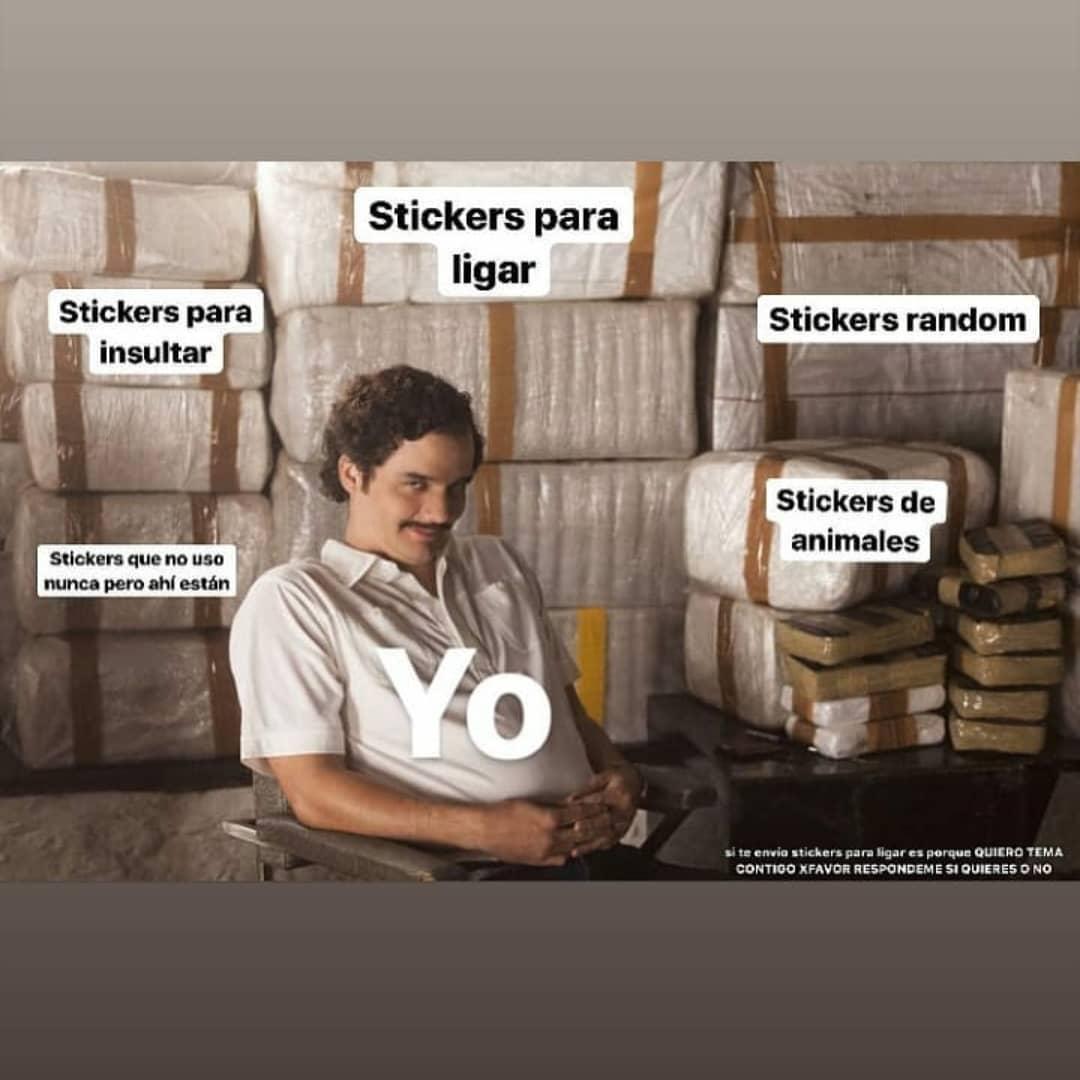 Stickers para ligar. Stickers para insultar. Stickers random. Stickers que no uso nunca pero ahí están. Stickers de animales. Yo.