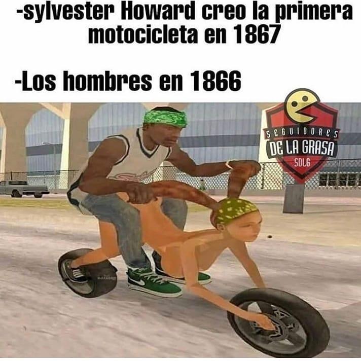 Sylvester Howard creó la primera motocicleta en 1867.  Los hombres en 1866.