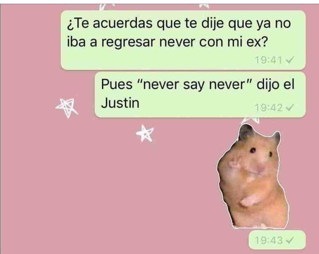 """¿Te acuerdas que te dije que ya no iba a regresar never con mi ex?  Pues """"never say never"""" dijo el Justin."""