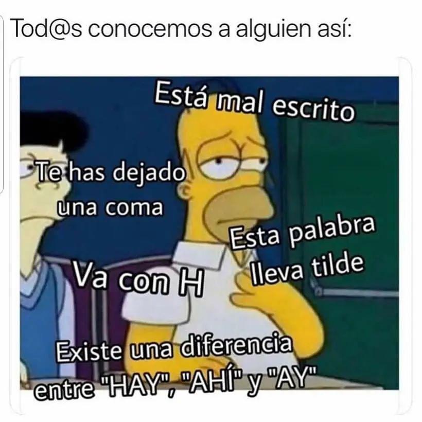 """Tod@s conocemos a alguien así:  Está mal escrito. Te has dejado una coma. Esta palabra lleva tilde. Va con H. Existe una diferencia entre """"Hay"""", """"Ahí"""" y """"Ay""""."""