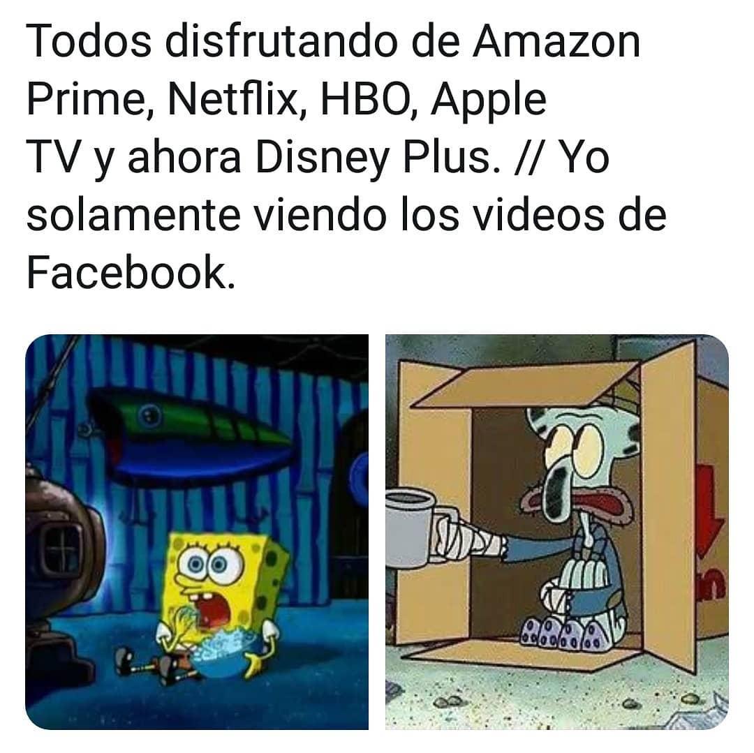Todos disfrutando de Amazon Prime, Netflix, HBO, Apple TV y ahora Disney Plus. // Yo solamente viendo los videos de Facebook.