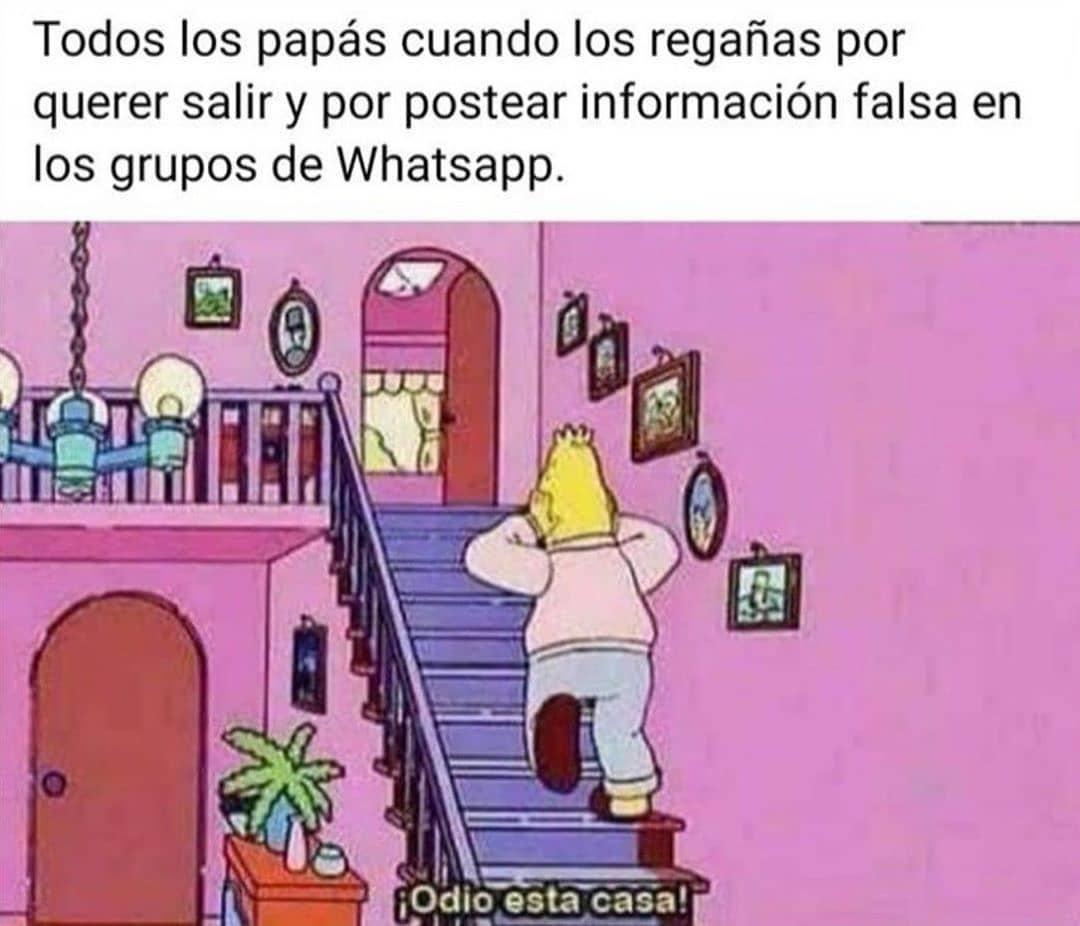 Todos los papás cuando los regañas por querer salir y por postear información falsa en los grupos de WhatsApp.  ¡Odio esta casa!