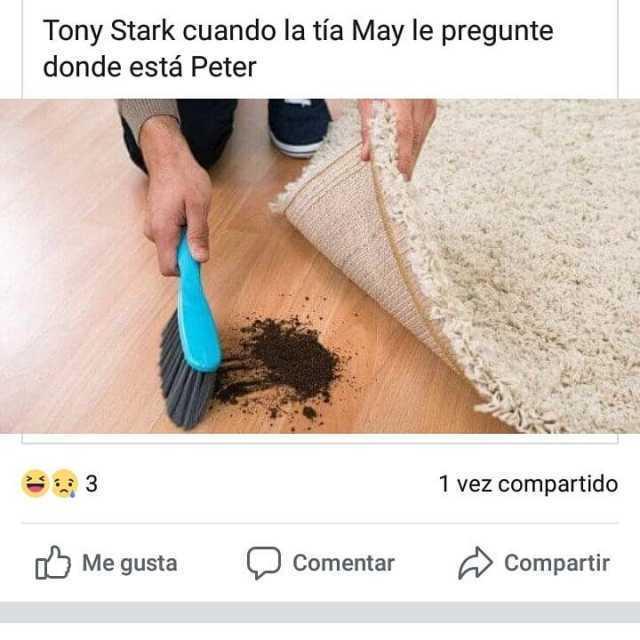 Tony Stark cuando la tía May le pregunte donde está Peter.