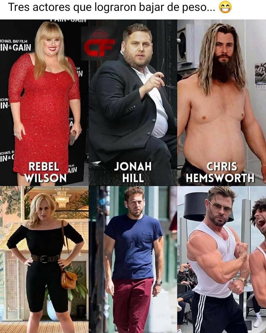 Tres actores que lograron bajar de peso...  Rebel Wilson. Jonah Hill. Chris Hemsworth.