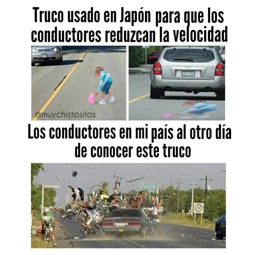 Truco usado en Japón para que los conductores reduzcan la velocidad.  Los conductores en mi país al otro día de conocer este truco.