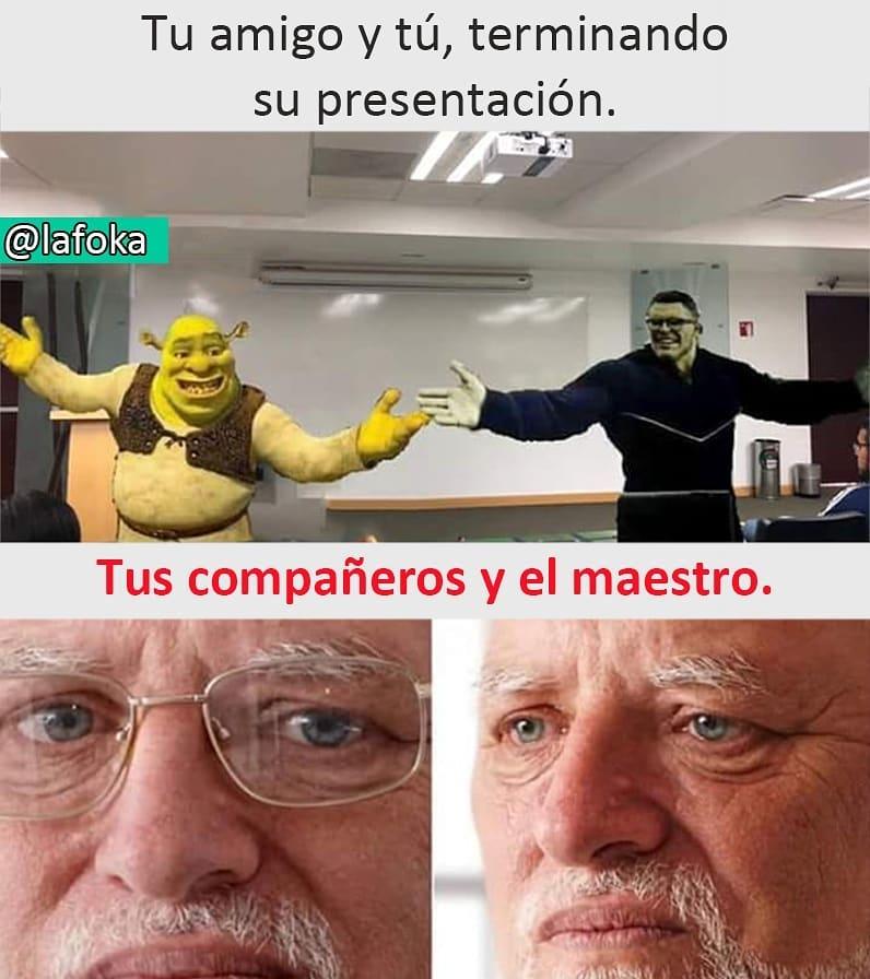 Tu amigo y tú, terminando su presentación.  Tus compañeros y el maestro.