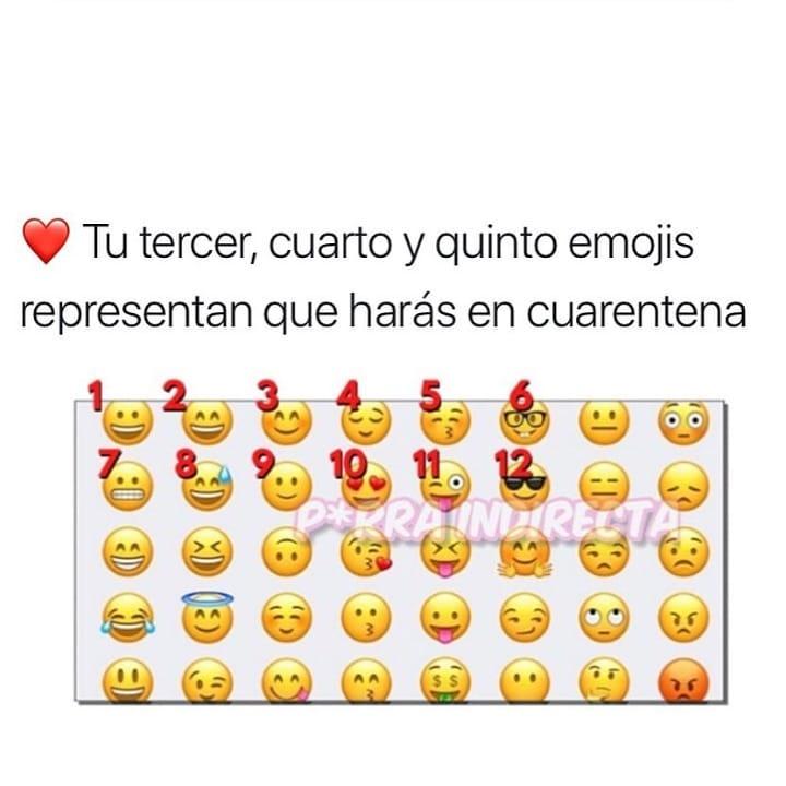 Tu tercer, cuarto y quinto emojis representan que harás en cuarentena.