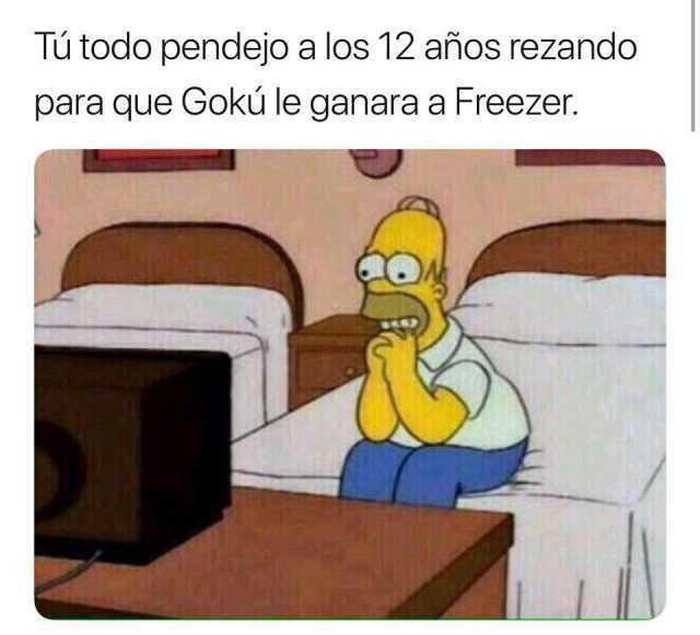 Tú todo pendejo a los 12 años rezando para que Gokú le ganara a Freezer.