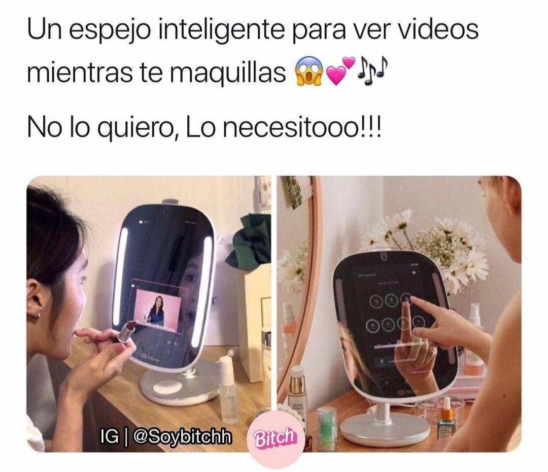 Un espejo inteligente para ver videos mientras te maquillas.  No lo quiero, lo necesitooo!!!