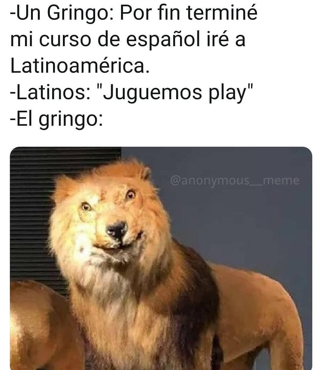 """Un Gringo: Por fin terminé mi curso de español iré a Latinoamérica.  Latinos: """"Juguemos play"""".  El gringo:"""