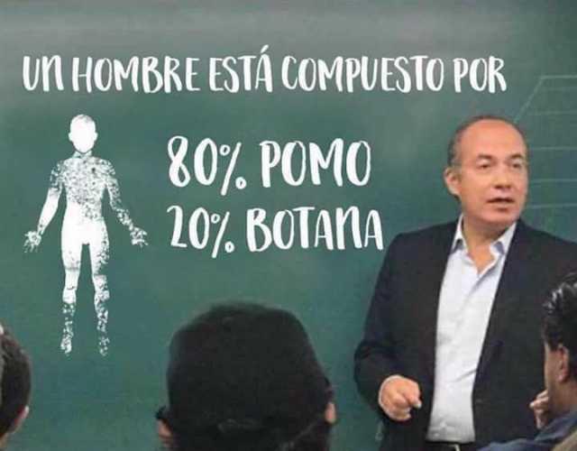 Un hombre está compuesto por: 80% pomo - 20% botana.