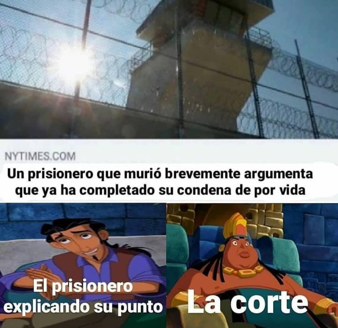 Un prisionero que murió brevemente argumenta que ya ha completado su condena de por vida.  El prisionero explicando su punto.  La corte.