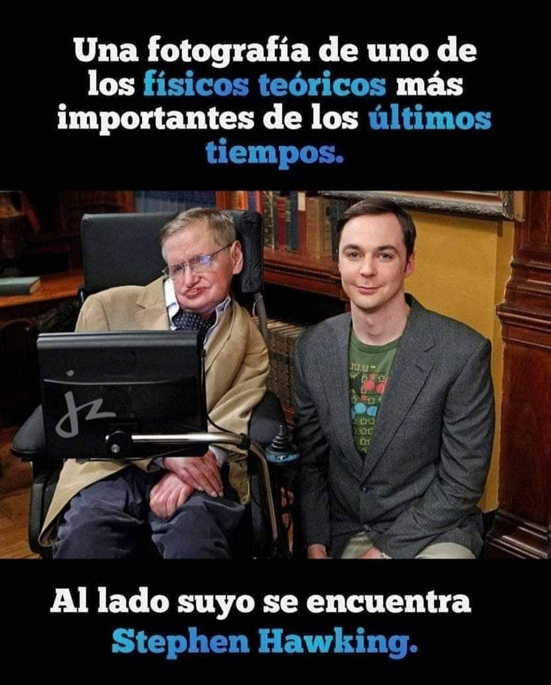 Una fotografía de uno de los físicos teóricos más importantes de los últimos tiempos. Al lado suyo se encuentra Stephen Hawking.