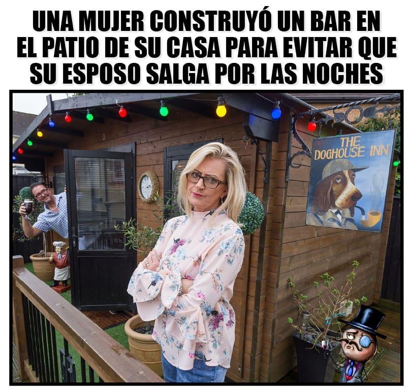 Una mujer construyó un bar en el patio de su casa para evitar que su esposo salga por las noches.