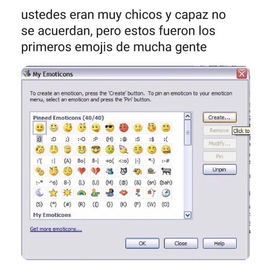 Ustedes eran muy chicos y capaz no se acuerdan, pero estos fueron los primeros emojis de mucha gente.
