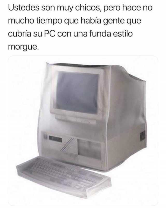 Ustedes son muy chicos, pero hace no mucho tiempo que había gente que cubría su PC con una funda estilo morgue.
