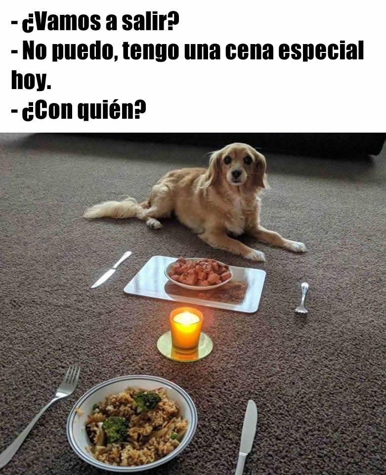 - ¿Vamos a salir?  - No puedo, tengo una cena especial hoy.  - ¿Con quién?