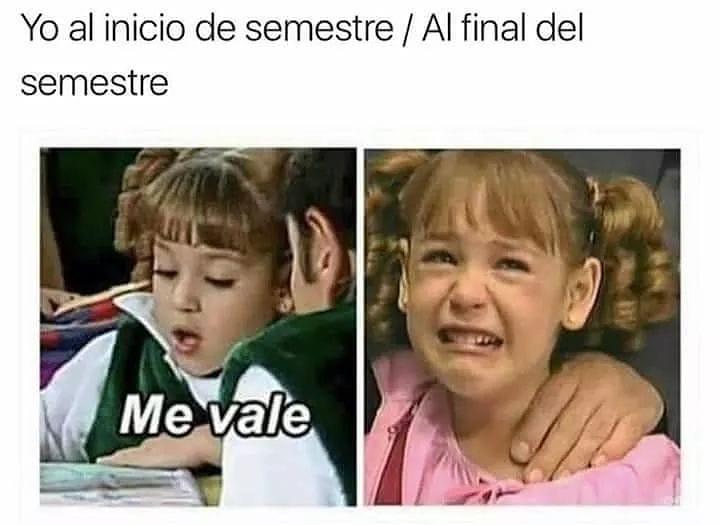 Yo al inicio de semestre. / Al final del semestre.