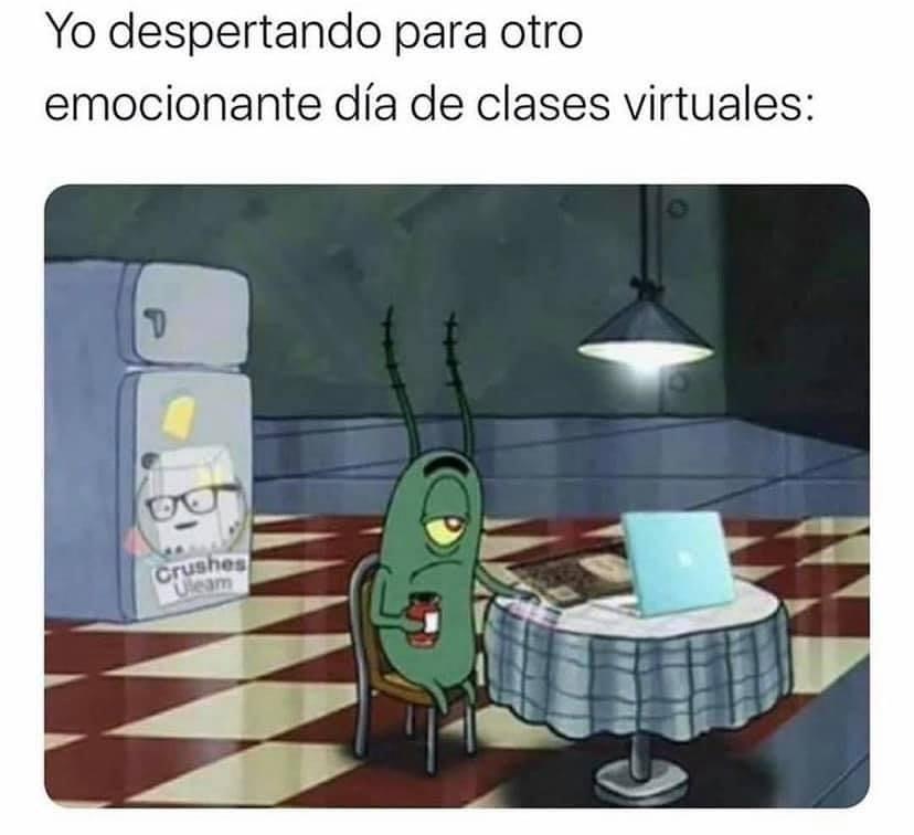 Yo despertando para otro emocionante día de clases virtuales.