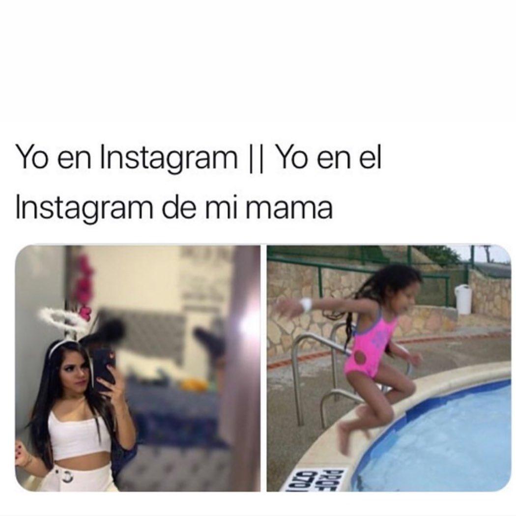Yo en Instagram. // Yo en el Instagram de mi mamá.