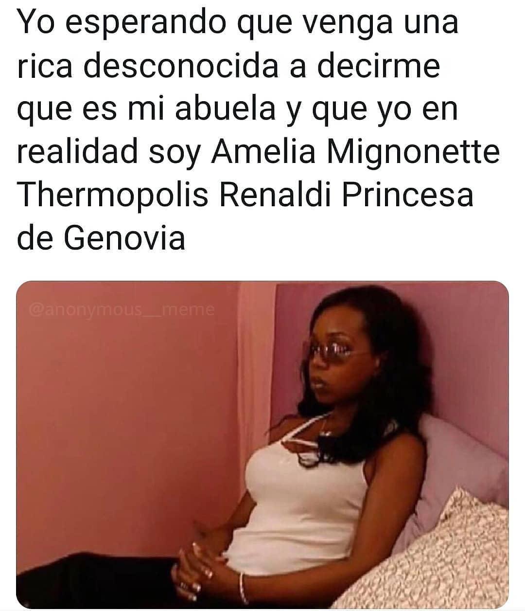 Yo esperando que venga una rica desconocida a decirme que es mi abuela y que yo en realidad soy Amelia Mignonette Thermopolis Renaldi Princesa de Genovia.