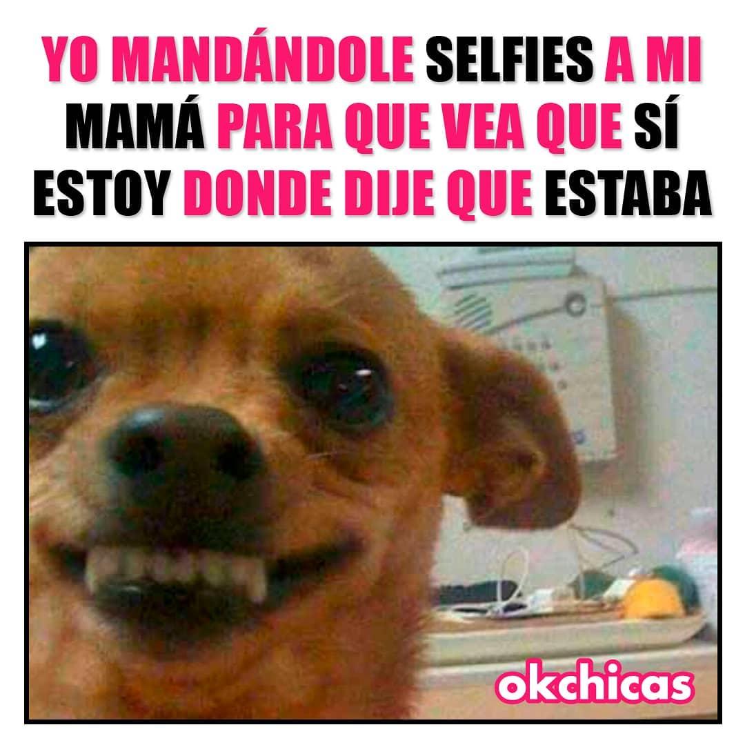 Yo mandándole selfies a mi mamá para que vea que sí estoy dond dije que estaba.
