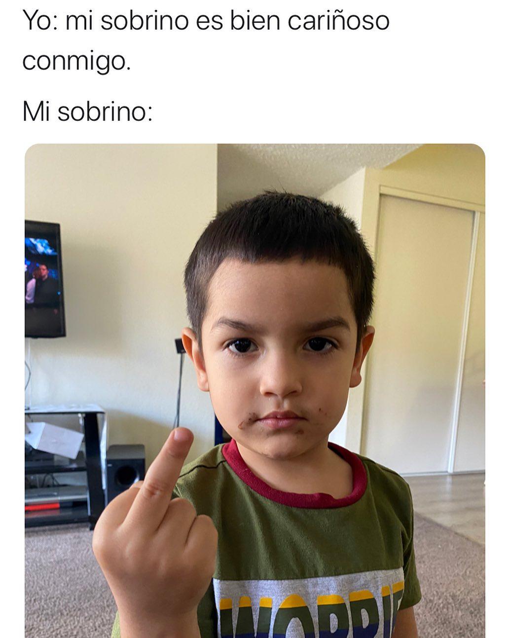 Yo: Mi sobrino es bien cariñoso conmigo.  Mi sobrino: