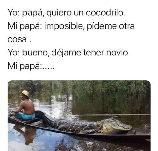 Yo: papá, quiero un cocodrilo.  Mi papá: imposible, pídeme otra cosa.  Yo: bueno, déjame tener novio.  Mi papá: