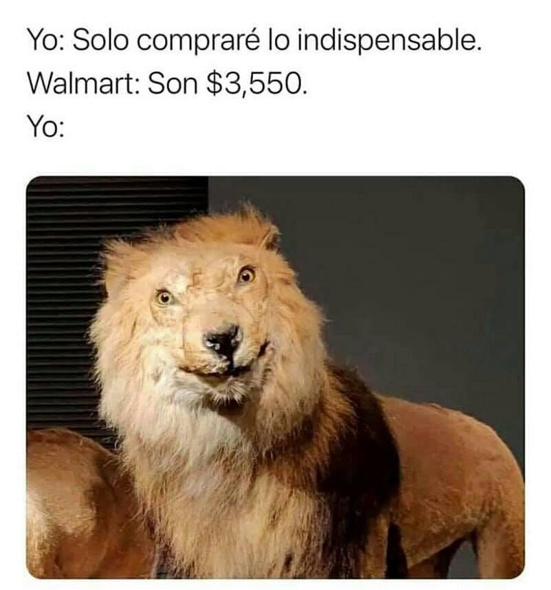 Yo: Solo compraré lo indispensable.  Walmart: Son $3,550.  Yo: