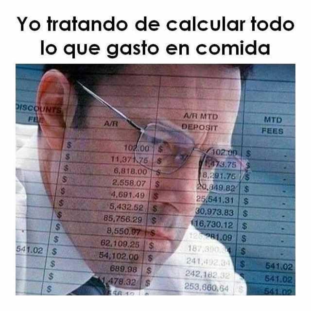 Yo tratando de calcular todo lo que gasto en comida.